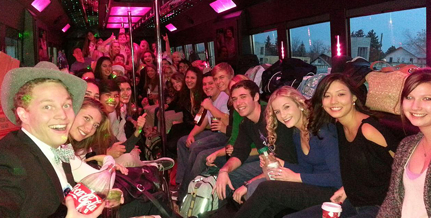 A party bus living up to its name.